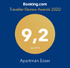 Booking.com Guest Review Awards 2020 - 9,2 out of 10 - Aparamán Esser